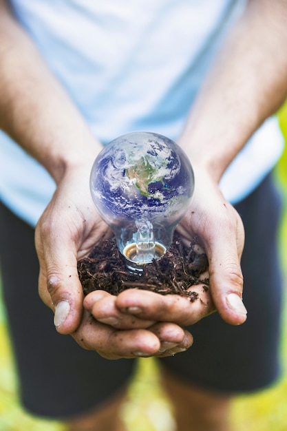 Concept hands holding earth in bulb Free Photo