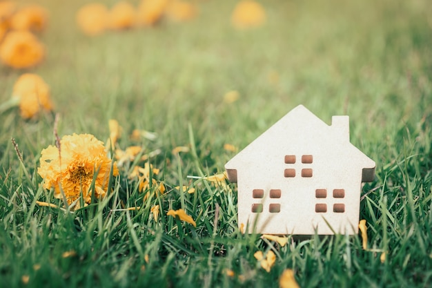 Concept of hard paper house on green grass, a symbol for construction Premium Photo