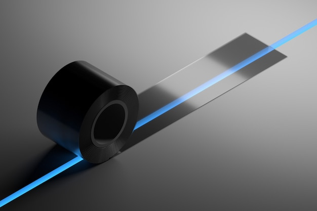 Concept illustration with transparent duct tape covering gap with blue light. 3d illustration. Premium Photo