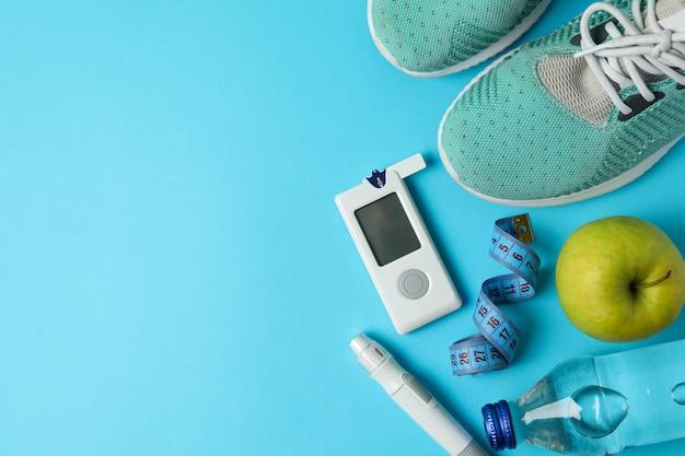 Концепция здорового диабетика. спортивный диабетик Premium Фотографии