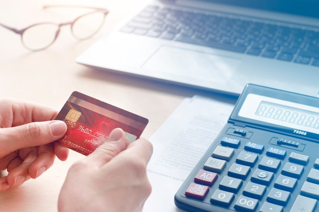 Concept of online payments, purchase, payment of bills Premium Photo