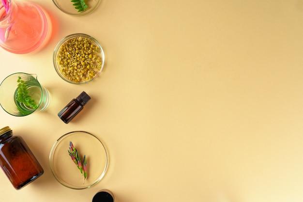실험실에서 미용 및 스킨 케어식이 보조제의 개념 연구 프리미엄 사진