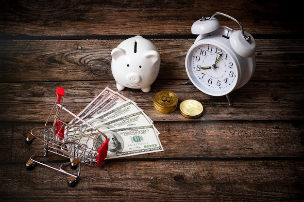 Concept save money dollars, deposit piggy bank ,business finance,money of shopping, growing money concept Premium Photo