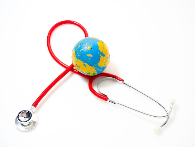Concept world health day, red stethoscope Premium Photo