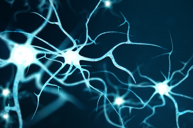Conceptual illustration of neuron cells with glowing link knots. neurons in brain on with focus effect. synapse and neuron cells sending electrical chemical signals. 3d illustration Premium Photo