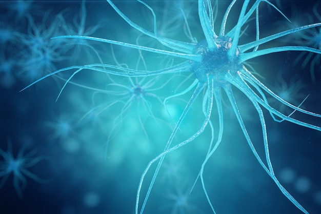 Conceptual illustration of neuron cells with glowing link knots. synapse and neuron cells sending electrical chemical signals. neuron of interconnected neurons with electrical pulses. 3d illustration Premium Photo