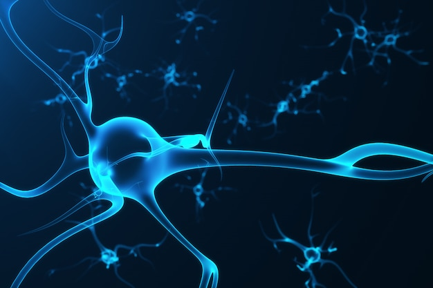 Conceptual illustration of neuron cells with glowing link knots. synapse and neuron cells sending electrical chemical signals. neuron of interconnected neurons with electrical pulses, 3d rendering Premium Photo