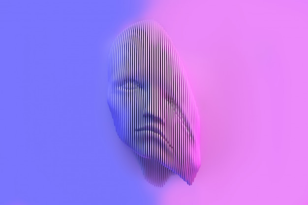 Conceptual representation of a female head with crushed problems 3d illustration Premium Photo