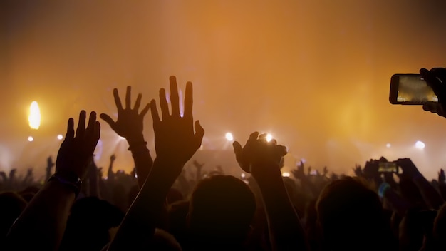 Concert music festival and celebrate. party people rock concert. crowd happy and joyful and applauding or clapping. blurry night club. concert show with dj music festival edm on stage Premium Photo