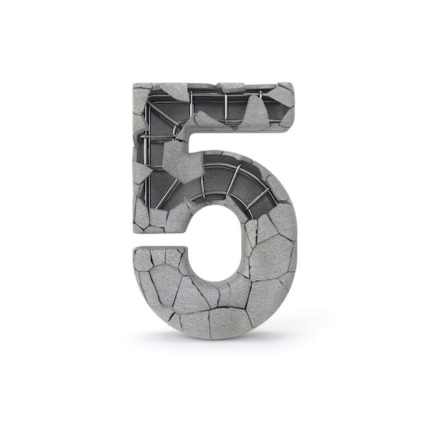 Concrete number 5 Premium Photo