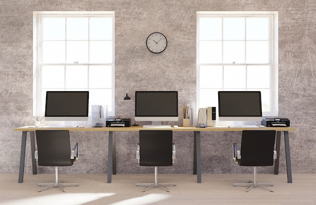 Concrete wall open space office interior with a wooden floor Premium Photo