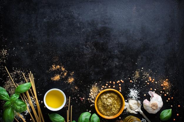Condiments to prepare italian pasta Free Photo