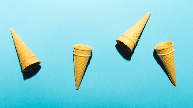 Cones on light blue background Free Photo