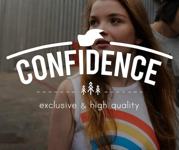 Confidence vintage vector graphic concept Free Photo