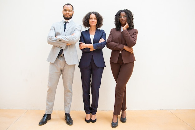 Confident business people posing with arms folded Free Photo