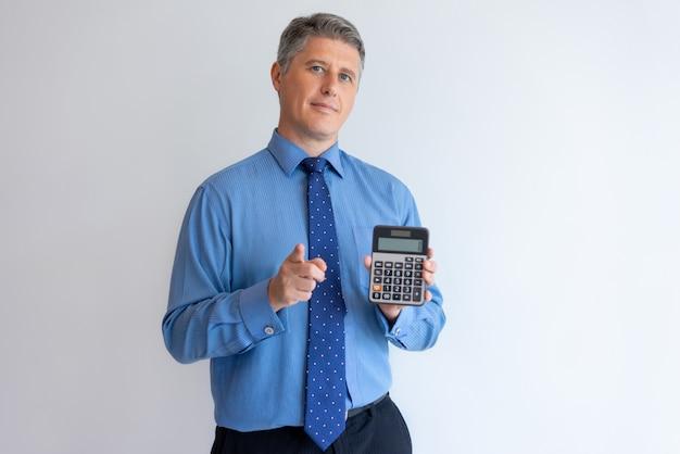 Confident financier advertising loan Free Photo