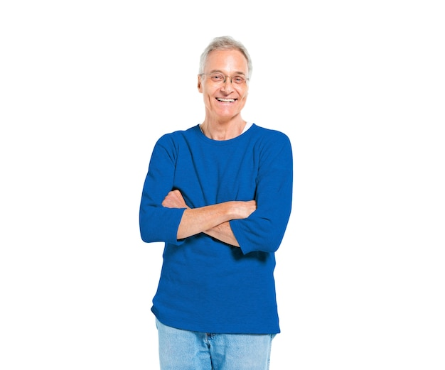 Confident mature man standing with arms crossed Free Photo