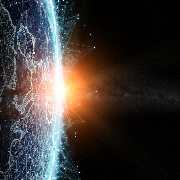 Connections system and datas exchanges on planet earth 3d rendering Premium Photo