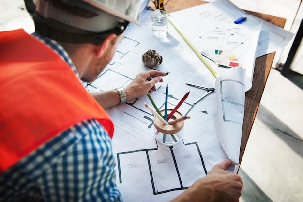 Construction interior blueprint plan designing concept Free Photo