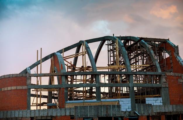 Construction of the new white brick house. Premium Photo