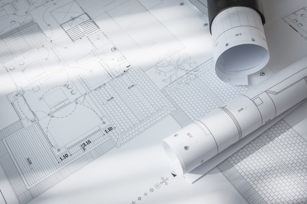 Construction plans of architectural project . Free Photo