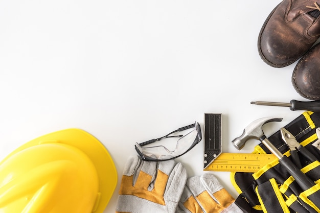 construction safety equipment and tools on white