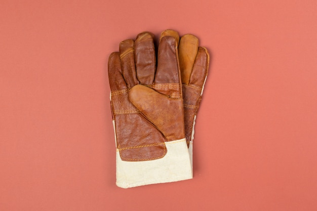 Construction safety gloves top view Premium Photo