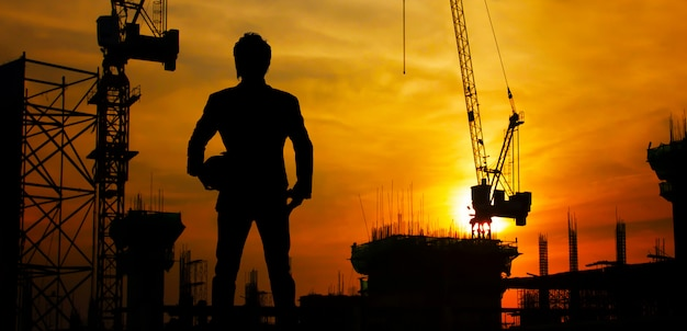 Construction site at sunset Premium Photo