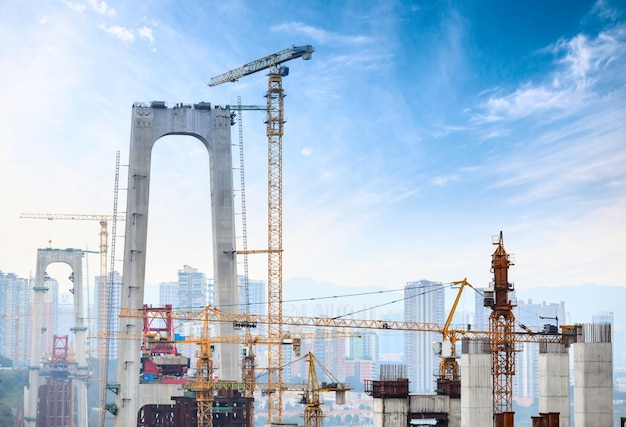 Construction of tall concrete pylon of bridge using tower crane Free Photo