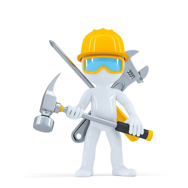 Construction worker/builder with hammer. Free Photo