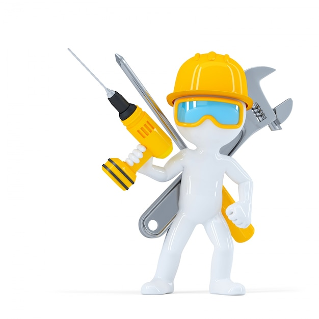 Construction worker/Builder with tools Free Photo