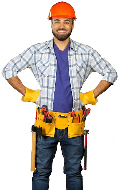 Construction worker isolated on white Premium Photo