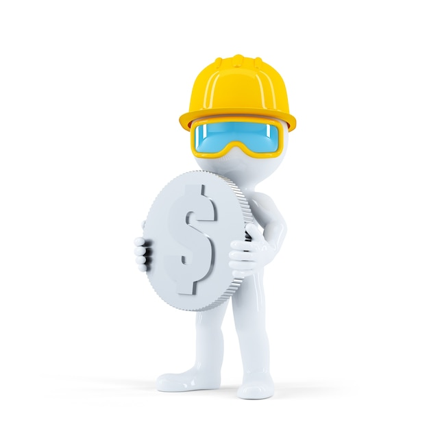 Construction worker with coin Free Photo
