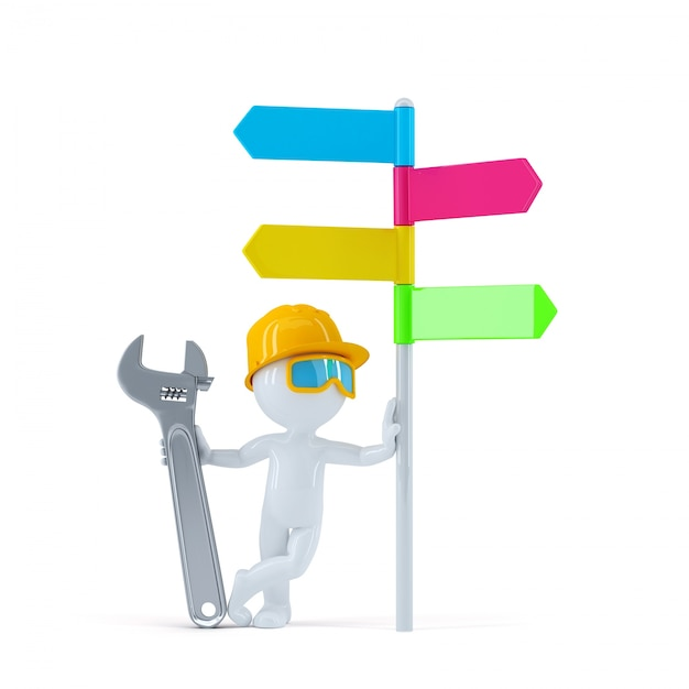 Construction worker with colorful signpost. Free Photo