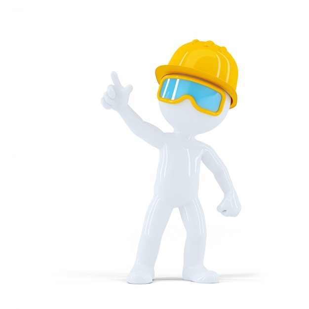 Construction worker with helmet pointing at object Free Photo