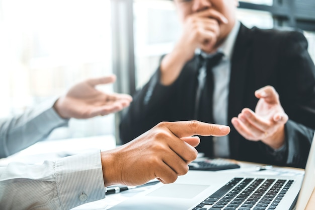 Consulting  co-working business team meeting planning strategy analysis investment Premium Photo