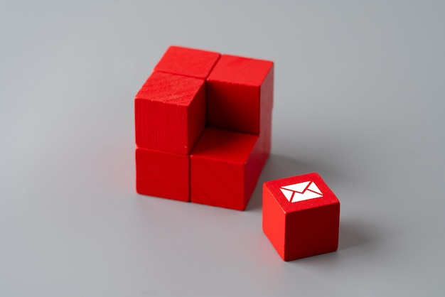 Contact us icon on colorful puzzle Premium Photo