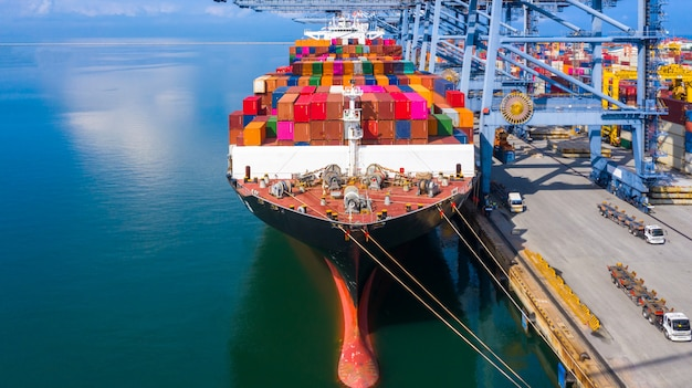 Container cargo ship in business logistic Premium Photo