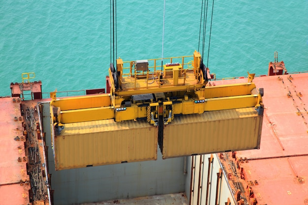 Container operation in port series Free Photo