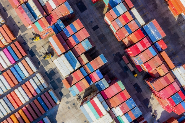 Container ship in export and import business and logistics Premium Photo