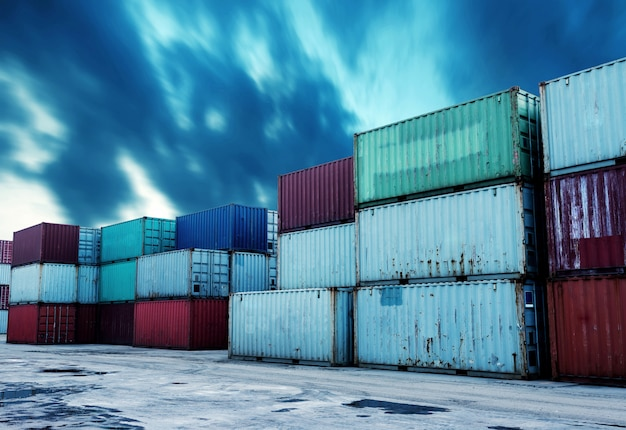 Container terminal Premium Photo