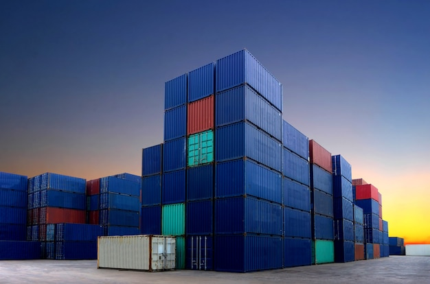 Container yard in the business of import-export Premium Photo