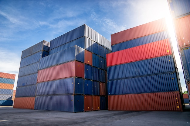 Container yard for logistic, import and export concept. Premium Photo