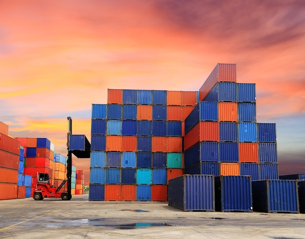 Containers in the port of laem chabang in thailand Premium Photo