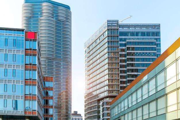 Contemporary architectural office building, urban landscape, personal perspective, Premium Photo