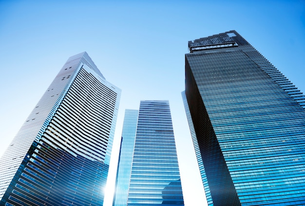 Contemporary architecture office building cityscape personal perspective concept Free Photo