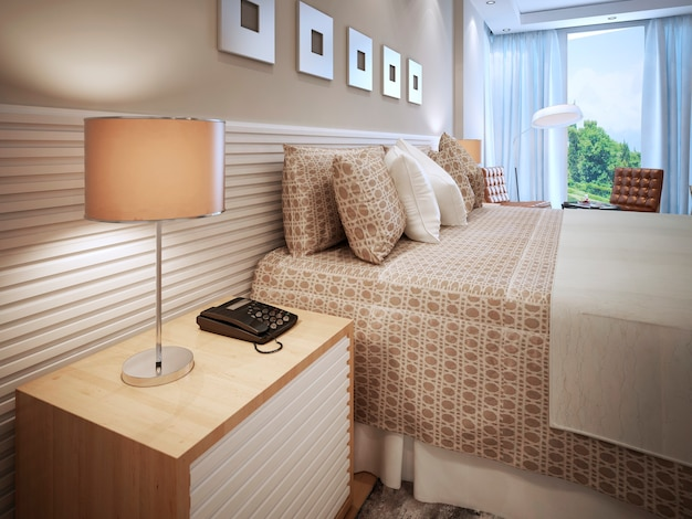 Contemporary bedroom design and bed with cushions and table lamp with brown shade. Premium Photo