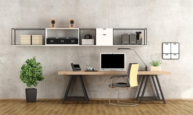 ミニマリストの机の上にラップトップを備えた現代的なホームオフィス Premium写真