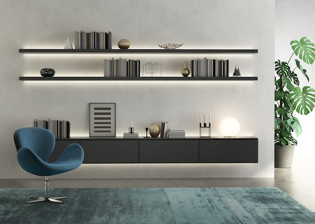 Contemporary modern wall system living room Premium Photo