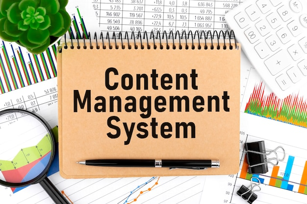 Content management system on notebook. calculator, magnifier, charts and graphs.